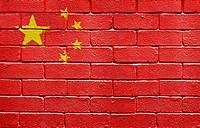 Flag of People´s Republic of China painted onto a grunge brick wall