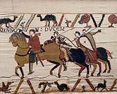 William the Conqueror and his escorts on horseback, detail of Queen Mathilda's Tapestry or Bayeux Tapestry, France, 11th century.  Bayeux, Centre Guil...
