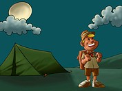 a young and happy scout in a camp with a moonlight