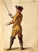Gentleman in riding costume, by Jan van Grevenbroeck or Giovanni Grevembroch 1731_1807, Gli Abiti de Veneziani, from illustrated book of costumes, wat...