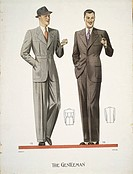 Fashion, 20th century. Men's clothing, 1938.