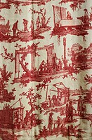Eighteenth century Toile de Jouy depicting manufacture work at the factory, after designs by Jean Baptiste Houet, 1784.  Jouy In Josas, Musee De La To...