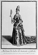 Fashion, France, 17th century - Madame de Ludre en stenkerke et falbala, engraving by N. Arnoult  Paris, Bibliothèque Nationale De France (Library)
