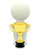 3d person holding a trophy isolated over a white background