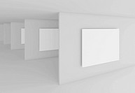 3d Illustration of White Abstract Gallery Interior