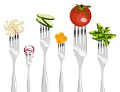 Six forks with different vegetables in horizontal sequence on white background.