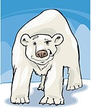 cartoon illustration of funny white polar bear