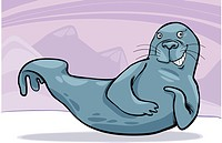 cartoon illustration of funny grey seal on ice