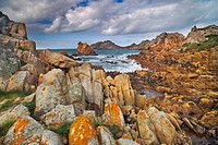 Rocky coastline at Plougasnou, Finistere, Brittany, France