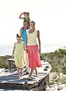 family on a jetty