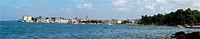 panoramic landscape of the sea with yachts and the city of Porec, Croatia