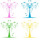Colorful art trees collection on white background
