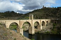 Alcántara Bridge or Trajano Bridge near to Alcántara village  It was declarated National Monument in 1921  Tagus River  Cáceres, Extremadura  Spain