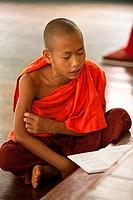 Novice monk studying in Kan Gyi Kyaung monastery  Nyaung Shwe, Myanmar