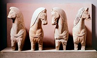 Quadriga, 570 BC, sculptures in marble from The Acropolis of Athens, Greece. Greek civilization, 6th Century BC.  Athens, Moussío (Acropolis Museum, A...