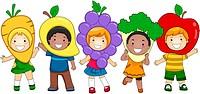 Illustration of Kids Dressed as Fruits and Vegetables _ eps8