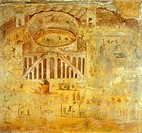 Fresco depicting quarrel between Pompeians and Nocerini in amphitheater, from Pompeii , Campania, Roman Civilization, 1st Century