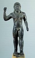 Bronze statuette depicting a javelin thrower. Etruscan Civilization, 520_500 BC.
