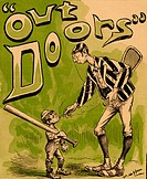 A large striped jacked racquet player holds a cigarette down to a small bal one_third of his size. The tiny baseball player has a huge bay slung over ...