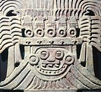 Clay architectural decoration originating from a Temple dedicated to the god of rain, Tehotiuacan (Mexico). Tehotiuacan Civilization, 3rd-9th Century....