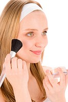 Facial care teenager woman apply powder with brush on white