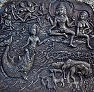 Carved stone at erawan museum,Thailand