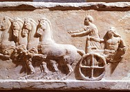 Hoplite on chariot, relief from Acropolis of Athens, Greek civilization, 4th Century BC