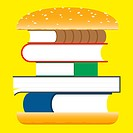 Books hamburger fast food