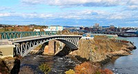 Panoramic view of downtown Saint John, New Brunswick, Canada with the Reversing Falls and bridge in the foreground