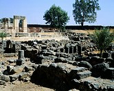 Ruins of the synagogue and the ancient Palestinian city of Capernaum, Israel. Civilisation of Palestine.