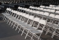 Pattern of emplty white chair rows