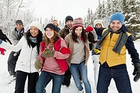 Group of adults enjoying the wintery outdoors (thumbnail)