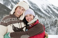 Portrait of couple in the snowy outdoors