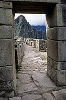 Machu Picchu, Peru - View of Huayna Picchu through the Main Gate