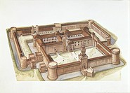 Italy - Lombardy Region - Milan. Reconstructed Sforza palace 'Castello Sforzesco'. Color illustration