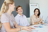 Smiling professionals at meeting in office