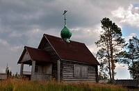 Ancient Russian church on a hill