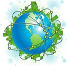 abstract illustration green civilization on blue planet