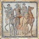 Mosaic depicting a chariot race, from Spain. Roman Civilization, 3rd Century.  Madrid, Museo Arqueológico Nacional