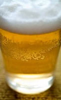 Detail of a fresh glass of cool beer.