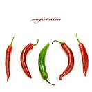 Hot chilli peppers, with one standing out as different from the crowd. With sample text