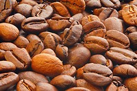 Extreme close_up image of coffee beans