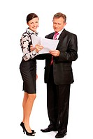 secretary bringing papers to senior handsome businessman