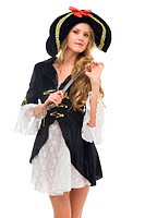 woman in carnival costume. Pirate woman shape. Isolated image