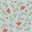 Seamless pattern with floral ornate on the blue background. Retro style.