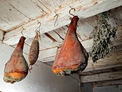 Domestic smoked meat products produced in the traditional way in a old smokehouse.