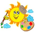 Sun artist on white background _ isolated illustration.