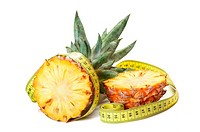 Pineapple with a measuring tape around
