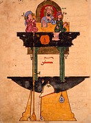 Mechanism of an instrument of measurement, Arabic miniature, 13th Century.  Istanbul, Topkapi Sarayi Muzesi Kutuphanesi (Library)