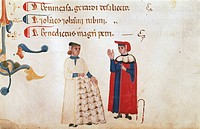 A merchant showing a client a hide, miniature from Guild of Wool Statute, manuscript 630 folio 1, recto, Italy 14th Century.  Bologna, Museo Civico Me...